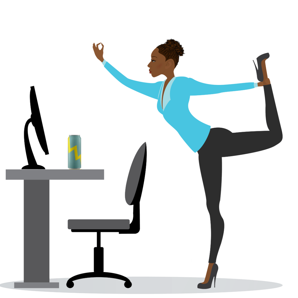 The Monday Mercenary can be seen here in her natural habitat: practicing yoga while answering emails from behind her desk, kombucha energy drink in tow.